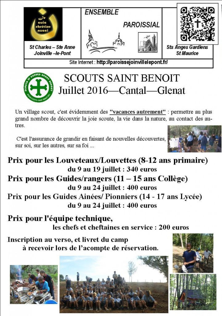 Inscription aux camps d'été SCOUT 2016
