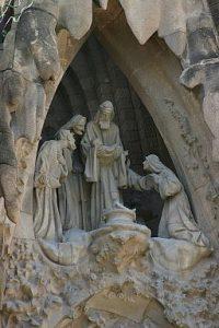 Présentation de Jésus au Temple. façade de la Sagrada Familia, Barcelone