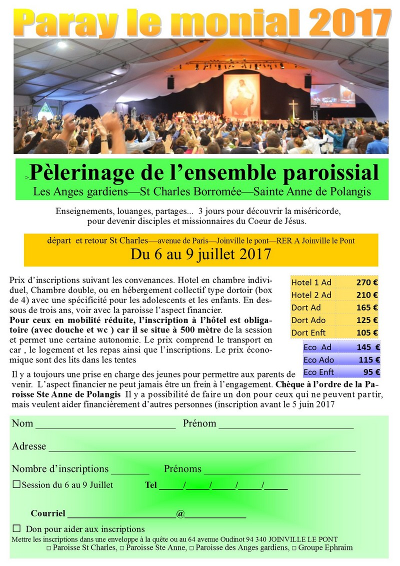 Pélerinage de l'ensemble paroissial à Paray-le Monial. du 6 au 9 juillet 2017