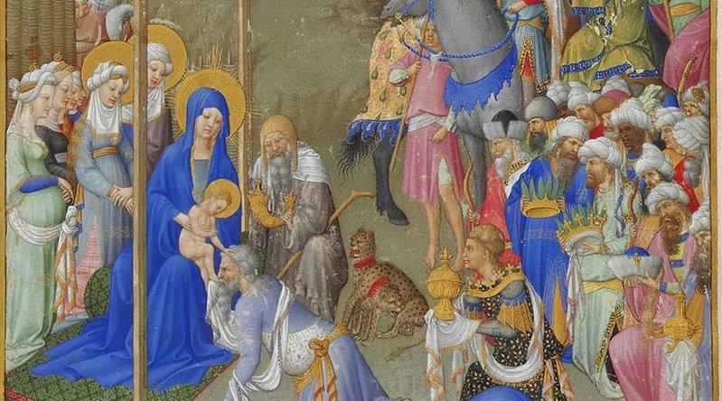 Adoration des mages. les Très riches heures du duc de Berry. Détail