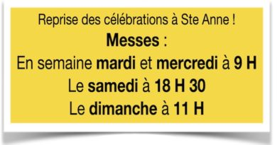 Reprise des célébrations à Ste Anne